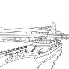 Desenho de um cais com um barco