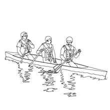 barco, Desenho de uma canoa no rio  para colorir