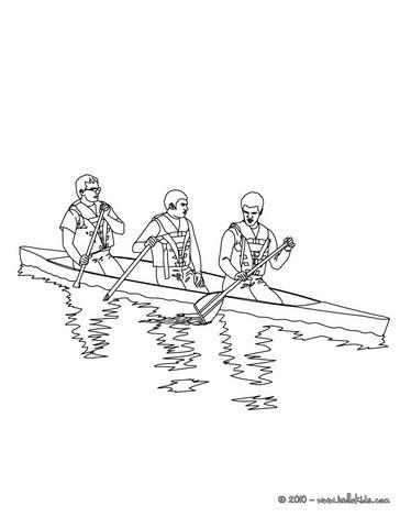 Desenho de uma canoa no rio  para colorir