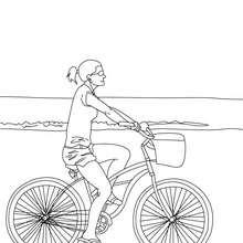 Desenho de uma menina andando de bicicleta para colorir