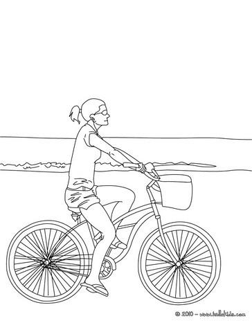 desenhos para colorir de desenho de uma menina andando de bicicleta