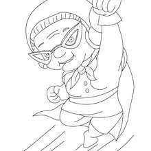 Desenho de uma super-avó para colorir online