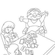 Desenho de uma avó jogando cartas para colorir