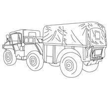 caminhão, Desenho de uma camionete militar para colorir
