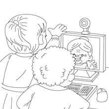 Desenho de uma conversa com a  vovó pela internet para colorir