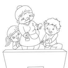 Desenho de uma avó brincando com a wii para colorir