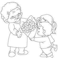 Desenho de uma demontração de amor pela avó  para colorir