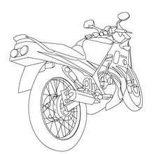 Desenho de uma moto esportiva vista por trás para colorir