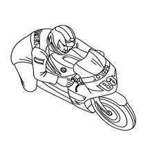 Desenho de uma corrida de moto esportiva para colorir