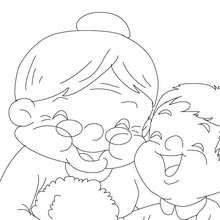 Desenho de uma avó com crianças para colorir
