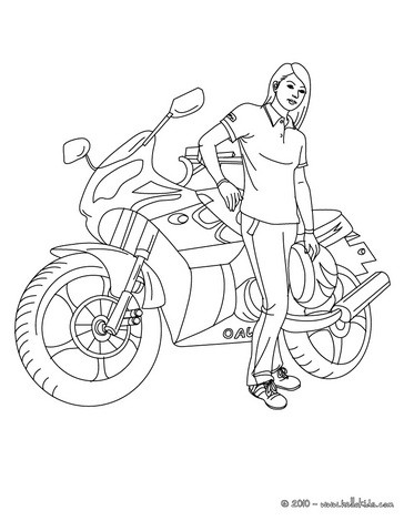 desenhos para colorir de desenho de uma moto de corrida com seu