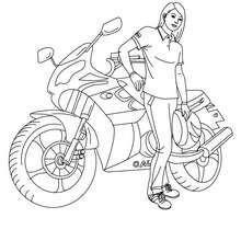 Desenho de uma piloto de moto com seu capacete para colorir