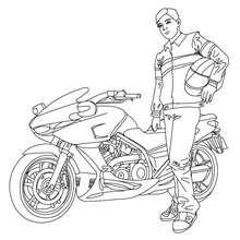 Desenho de uma moto de corrida com seu piloto para colorir