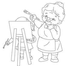 Desenho de uma vovó pintando para colorir