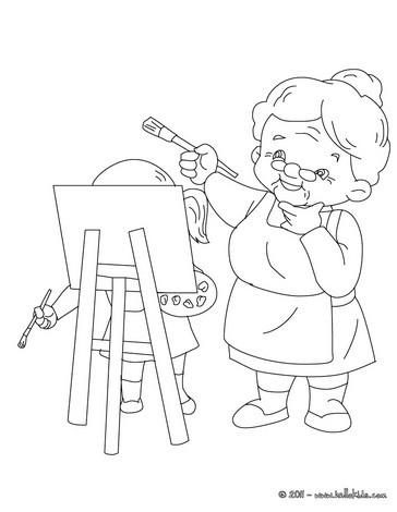 Desenhos Para Colorir De Desenho De Uma Vovo Pintando Para Colorir