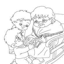 Desenho de uma avó lendo histórias para colorir