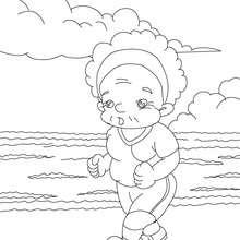 Desenho de uma avó correndo para colorir