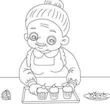 Desenho de uma avó fazendo um bolo para colorir