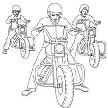 Desenho de motoqueiros com suas Harley Davidson para colorir