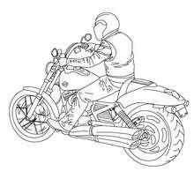 Desenho de um motoqueiro com sua Harley Davidson para colorir online
