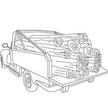 caminhão, Desenho de um Pick up com madeira para colorir