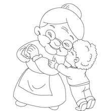 Desenho de um menino abraçando sua avó  para colorir