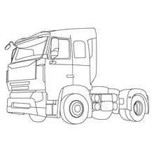 Desenho de um caminhão se cargas para colorir