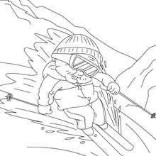 Desenho de uma avó esquiando para colorir