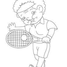 Desenho de uma avó jogando tênis para colorir