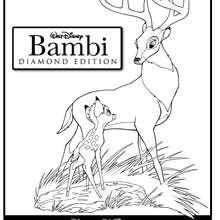 Desenho do Bambi com seu papai para colorir