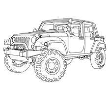 Desenho de um carro 4x4 para colorir