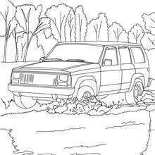Desenho de um carro na natureza para colorir