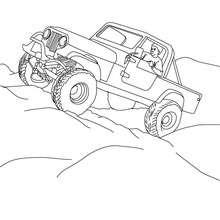 Desenho de um Hummer subindo em pedras para colorir