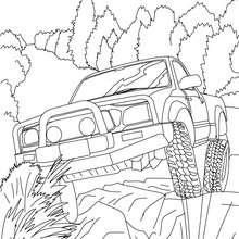 Desenho de um Hummer passando por rochas para colorir