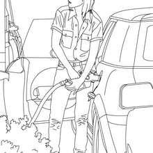 Desenho de um carro se reabastecendo para colorir