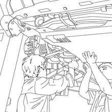 Desenho de mecânicos concertando um carro para colorir