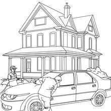 Desenho de uma família com seu carro para colorir