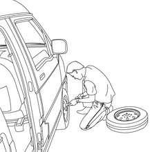Decoração de um homem trocando um pneu para colorir