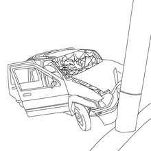 Desenho de um acidente de carro para colorir