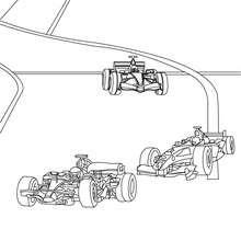 Desenho de uma corrida de Fórmula 1 para colorir
