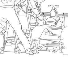 Desenho de um Carro da Fórmula 1 se reabastecendo para colorir