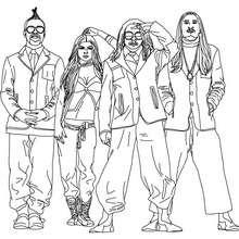 Desenho para colorir dos integrantes do Black Eyed Peas