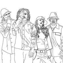 Desenho para colorir dos divertidos Black Eyed Peas