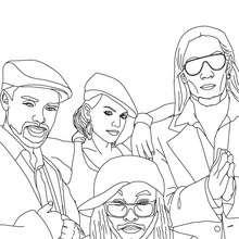 Desenho do grupo Americano Black Eyed Peas para colorir