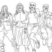 Desenho dos Black Eyed Peas cantando para colorir