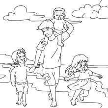 Desenho de um pai brincando com suas crianças na praia para colorir