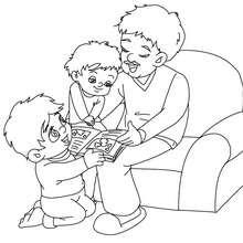 Desenho de um papai lendo um livro para colorir