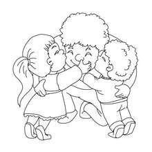 Desenho de crianças abraçando seu papai para colorir