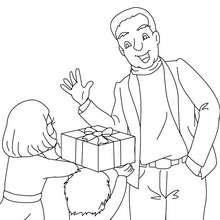 Desenho de um pai recebendo um presente para colorir
