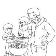 Desenho do churrasco do papai para colorir